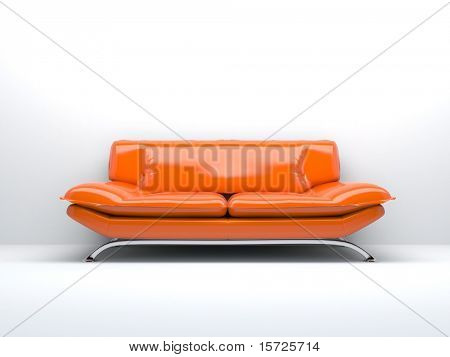 orange sofa isolated on white background 3d