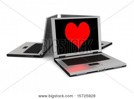 lot of laptop - The image of heart on the screen