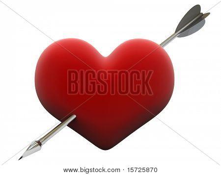 velvet heart pierced by steel cupid arrow