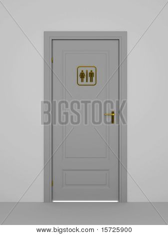 toilet door - concept. Unisex symbols on a door sign.