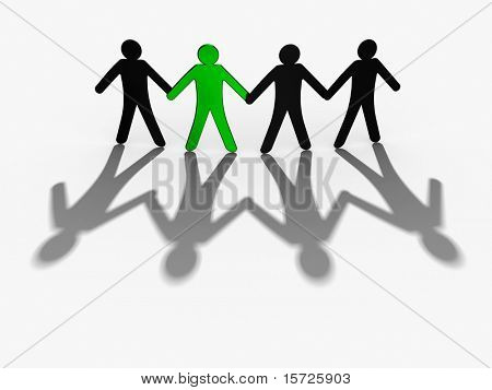 figures holding hands One figure is marked green