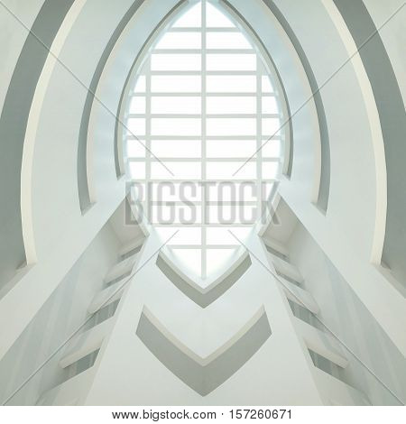 3d illustration. Three-dimensional composition based on an abstract white interior. Geometric rounded shape in perspective look up. The design of the ceiling look up.