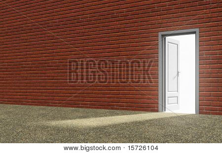Inside a red brick room with opened door