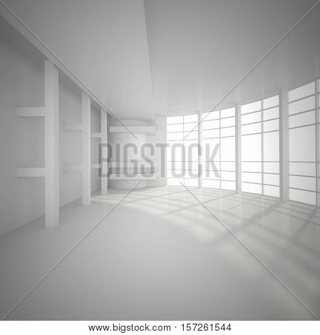 3d illustration. White interior of nonexistent building. Circular hall with transparent wall multilevel ceiling and and external light. Render.