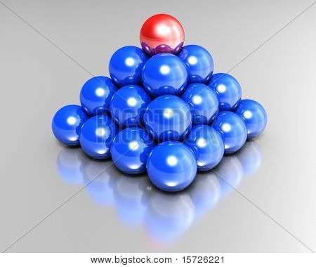 business pyramid - Pyramid from balls, the ball on a top is marked red