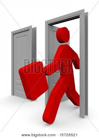 Door in the future - The businessman come into the open door
