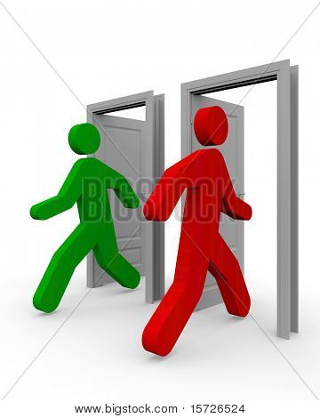 People come into the open door