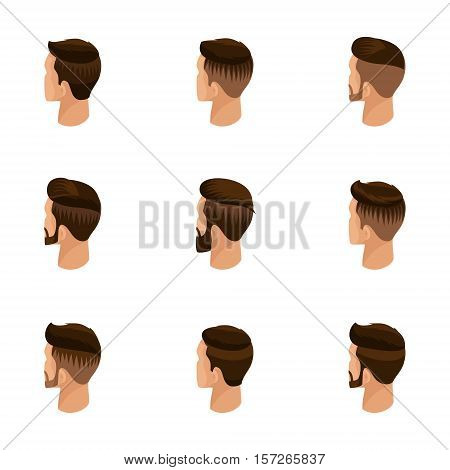 Isometric set of avatars, men's hairstyles, hipster style. Laying, beard, mustache. Modern, stylish hairstyle, rear view, isolated. Vector illustration.