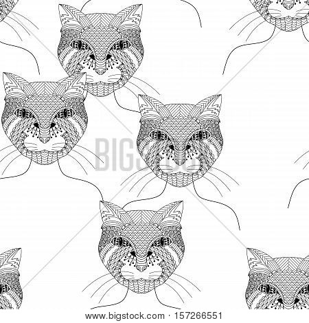 Fashion cat woman. Coloring book for adults, vector illustration. Seamless pattern