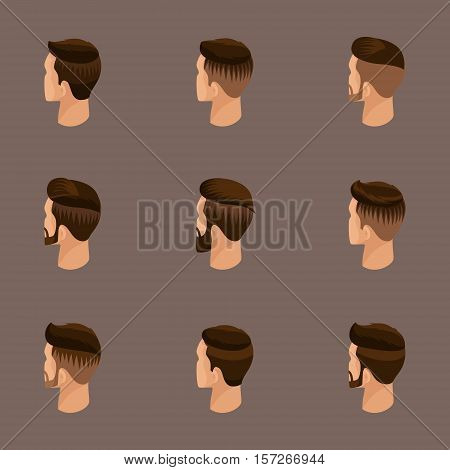 Isometric set of avatars, men's hairstyles, hipster style. Laying, beard, mustache. Modern, stylish hairstyle, rear view on a beige background. Vector illustration.