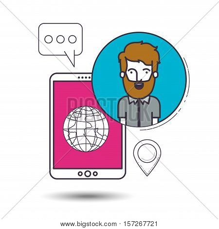 male user with advantages of internet and digital technology image vector illustration design
