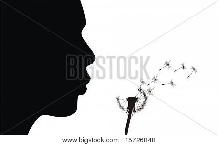 Girl blow dandelion. See more vector dandelions in my portfolio.