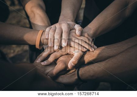Teamwork Join Hands Support Together Concept. Sports People Joining Hands.