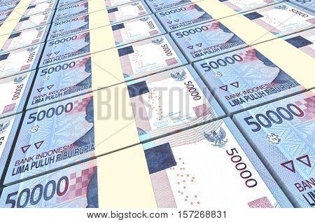 Indonesian rupiah bills stacks background. 3D illustration.