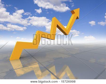 Gráfico de negócios - crescimento para céu