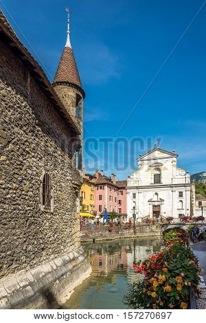 ANNECY,FRANCE - SEPTEMBER 2,2016 - View at the church of Saint Francois de Sales from Palace de Ille in Annecy. Annecy is the largest city of Haute Savoie department in the Auvergne Rhone Alpes region in southeastern France.