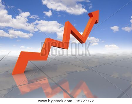 Business graph - growth to sky