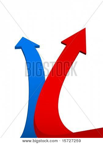 Two arrow aspire to sky - with clipping path
