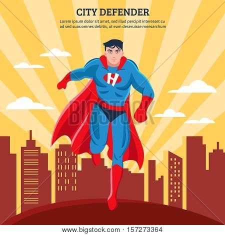 City defender flat vector illustration of superhero with red mantle soaring above town buildings in sunlight