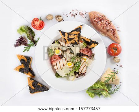 Tasty Caesar Salad With  Grilled Chicken Meat