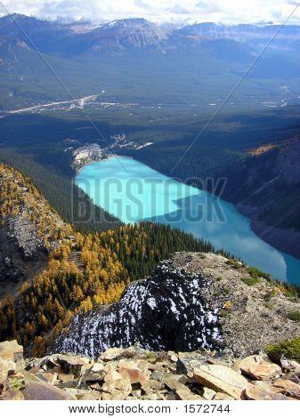 Ungewöhnliche Ansicht des berühmten Lake Louise, Banff Nationalpark, Kanada
