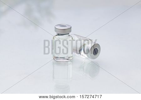 Medical ampoules, medical vials for injection isolated on white background.