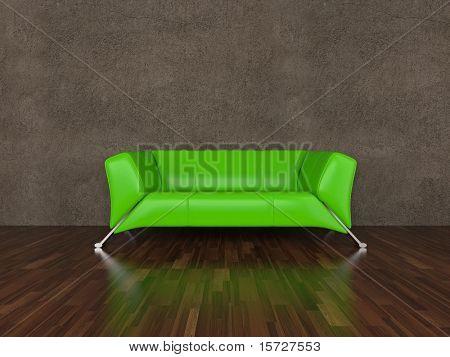 Green leather sofa in interior