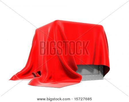Box covered from above a red silk cloth - isolated on white