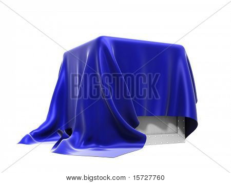Box covered from above a blue silk cloth - isolated on white
