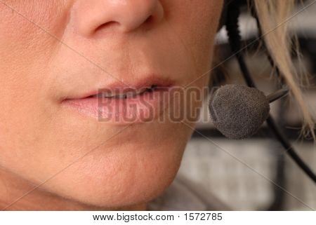 Close Up Of Police Dispatcher'S Mouth