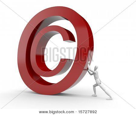 Mann bringen Copyright-symbol