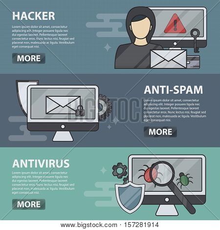 Vector thin line design horizontal banners of hacker, anti-spam and antivirus. Business concept of internet security, protection, coding and programming. Set of computer hardware and technology.