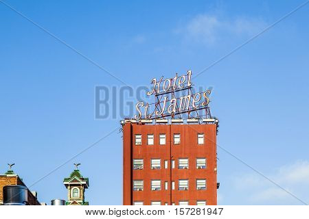 SAN DIEGO USA - JUNE 11 2012: facade of historic hotel St. James in San Diego USA. Built in 1913 by the late Henry Harms Preibisius the hostelry was the tallest building in San Diego.