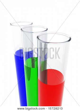 Test tube. Red, green, blue - RGB concept