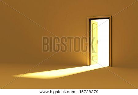 Dentro de una habitación con la puerta abierta - amarillo edición
