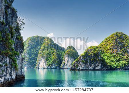 Beautiful Azure Water Of Lagoon In The Ha Long Bay, Vietnam