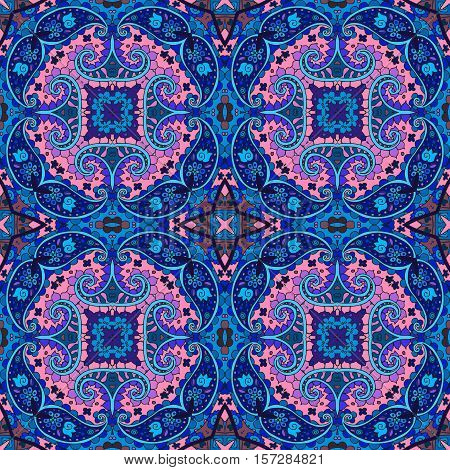 Detailed floral and paisley seamless pattern in pink and blue tones. Vector background. Beautiful bandana print. Lovely tablecloth. Bedding packaging.