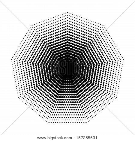 Vector Nonagon halftone geometric shapes, Dot design abstract background. The geometric shape with nine angles, basic shapes. Inspiration Geometric Design Art, Dotwork Illustration