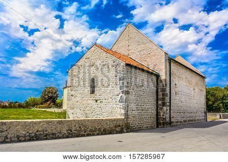 View at traditional old houses in Dalmatia region, famous region in Croatia land, Europe travel destination.