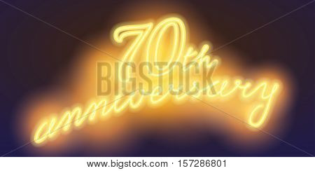 70 years anniversary vector illustration banner flyer logo icon symbol sign. Graphic design element with electric light font for 70th anniversary birthday card