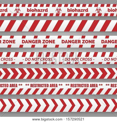 Danger tapes set vector illustration. Red and white tapes collection