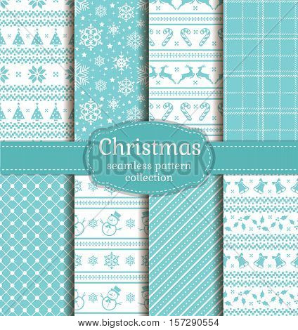 Merry Christmas and Happy New Year! Set of seamless backgrounds with winter holiday symbols: candy cane xmas tree deer holly bells snowflakes snowmans and abstract patterns. Vector collection.