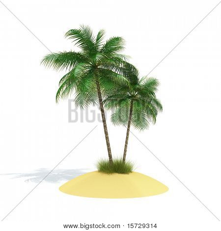 Symbol of rest. Tropical island isolated on white.