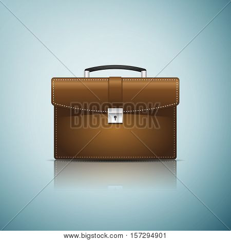 Briefcase brown business icon isolated on blue background. Vector Illustration