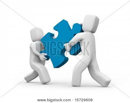 Pessoas transferir um quebra-cabeça - conceito do negócio do conceito de trabalho em equipe isolado no branco