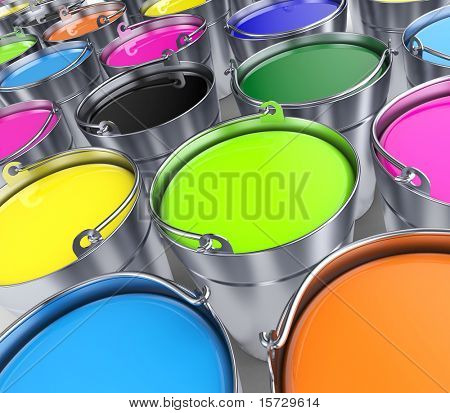 Buckets with a paint