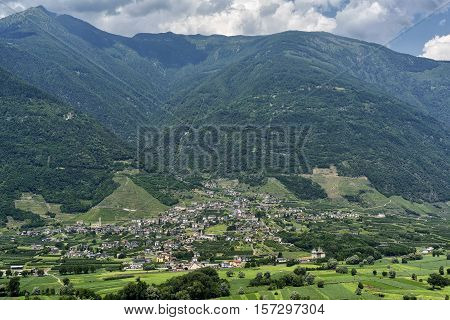 View from the road to Passo Aprica (Sondrio Lombardy Italy) at summer