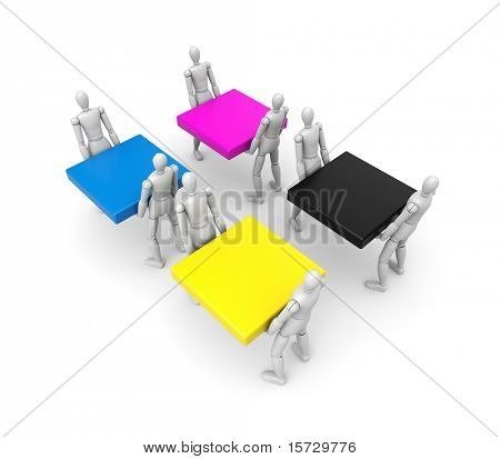 CMYK concept (with clipping path) Easy editable for you design