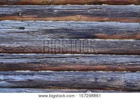 Vintage Natural Weathered Old Log Cabin Wall Facade Background Texture