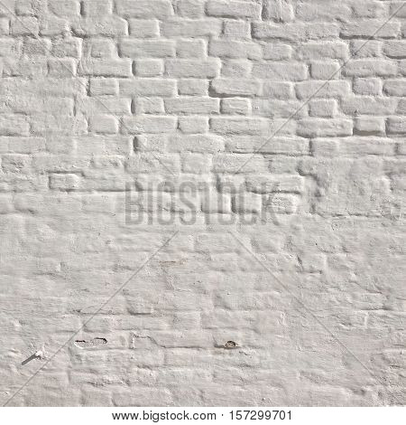 Rectangular White  Washed  Brick Wall With  Shabby Plaster Background Texture